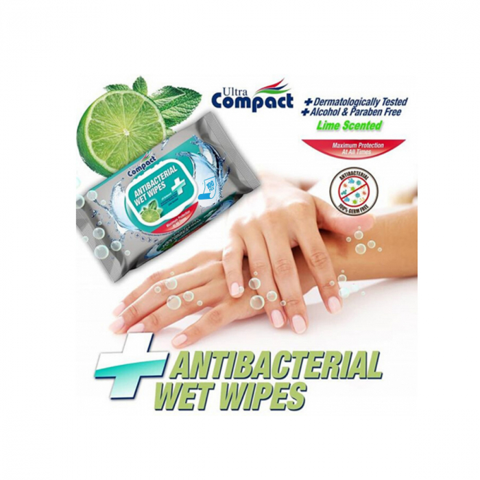 Servetele Antibacteriene umede pentru maini, 100 buc/set, Lime, Dezinfectante, Ultra Compact, fara Alcool sau Parabent 1