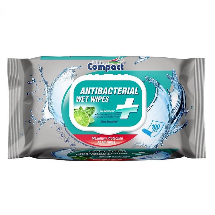 Servetele Antibacteriene umede pentru maini, 100 buc/set, Lime, Dezinfectante, Ultra Compact, fara Alcool sau Parabent 0