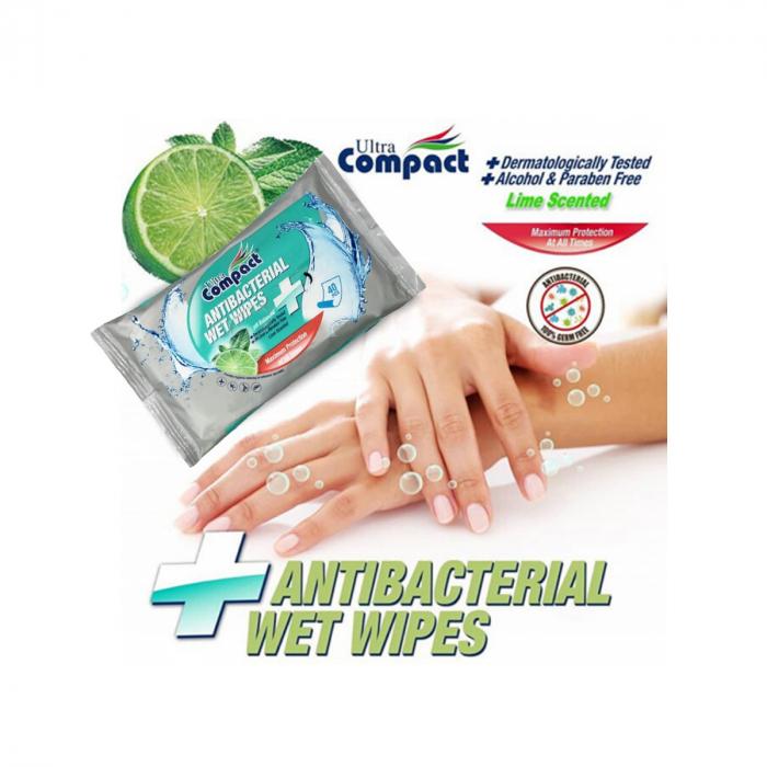 Servetele Antibacteriene umede pentru maini, 40 buc/set, Lime, Dezinfectante, Ultra Compact, fara Alcool sau Parabent 1