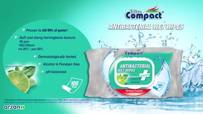 Servetele Antibacteriene umede pentru maini, 100 buc/set, Lime, Dezinfectante, Ultra Compact, fara Alcool sau Parabent 2