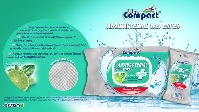 Servetele Antibacteriene umede pentru maini, 100 buc/set, Lime, Dezinfectante, Ultra Compact, fara Alcool sau Parabent 3