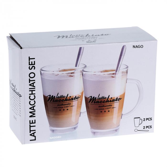 Set 2 Cani, din Sticla transparenta pentru Latte Macchiato, cu 2 lingurite din inox 2