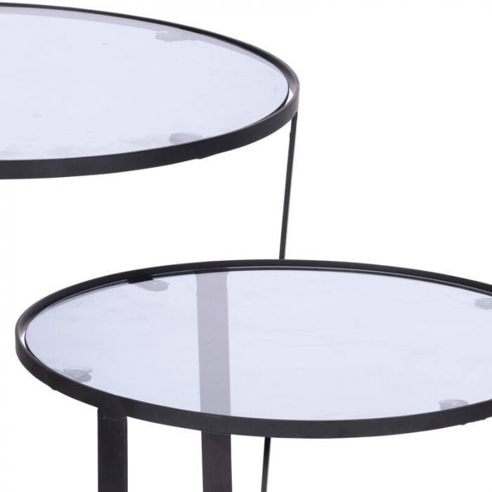 Set 2 mese metal culoarea gri inchis,blat sticla securizata ,dimensiuni 40x44 cm si 45x50cm 3