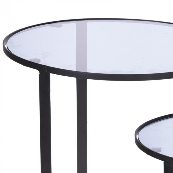 Set 2 mese metal culoarea gri inchis,blat sticla securizata ,dimensiuni 40x44 cm si 45x50cm 2