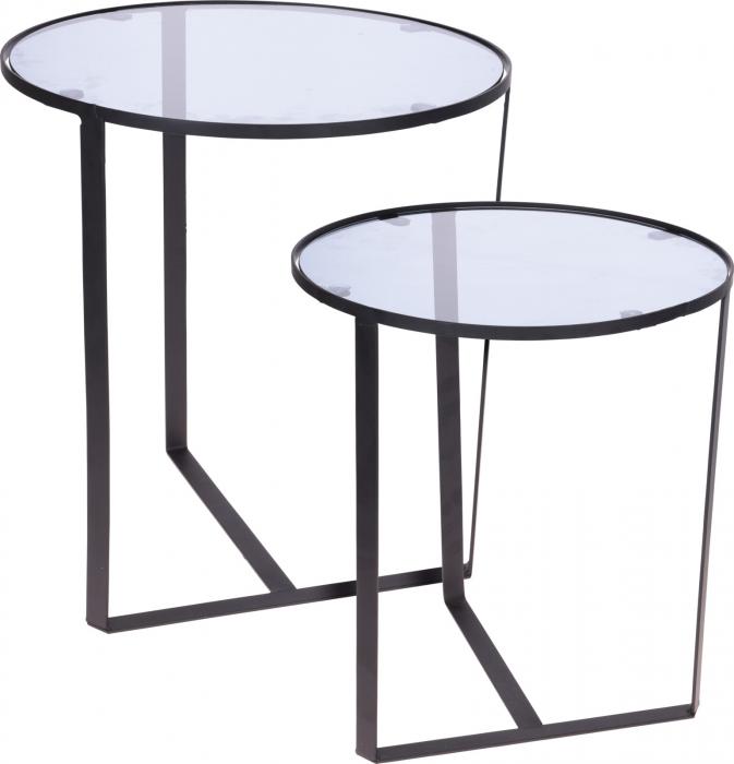 Set 2 mese metal culoarea gri inchis,blat sticla securizata ,dimensiuni 40x44 cm si 45x50cm 0