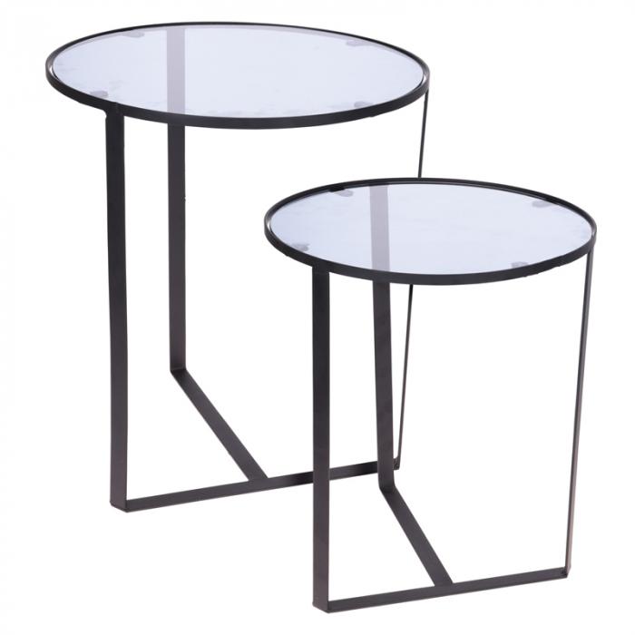 Set 2 mese metal culoarea gri inchis,blat sticla securizata ,dimensiuni 40x44 cm si 45x50cm 1