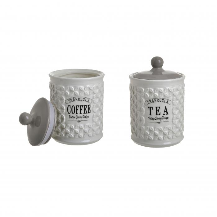 Set 2 recipiente portelan, cu capac, depozitare cafea si ceai, Alb, 18x12 cm 0