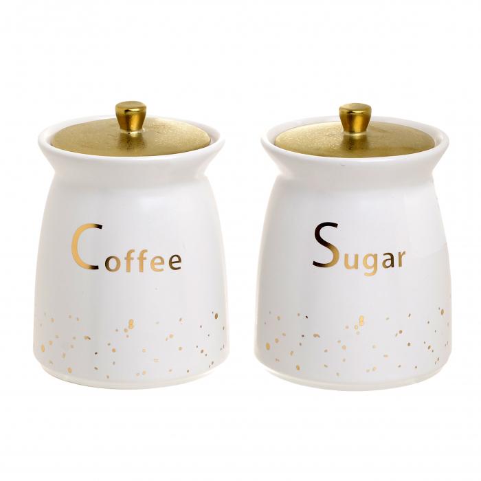 Set 2 recipiente portelan, pentru zahar si cafea, culoare alb cu auriu, diametru 11 cm inaltime 15 cm 0