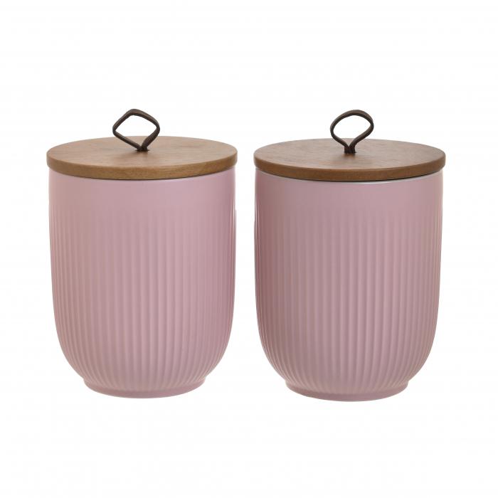 Set 2 recipiente Portelan, capac Bambus, pentru Zahar si Cafea, culoare Roz, diametru 11 cm inaltime 14 cm 0