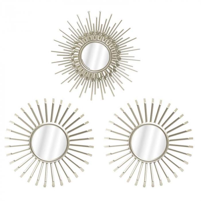 Set 3 oglinzi decorative rama plastic culoare crem diametru 25 cm 0