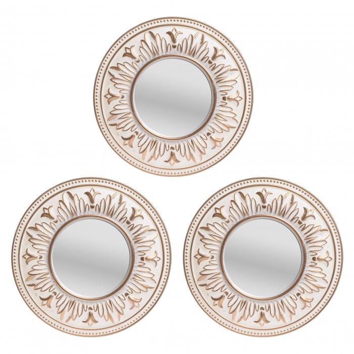 Set 3 oglinzi, rama plastic, culoare Aurie, 25x2x25 cm 0