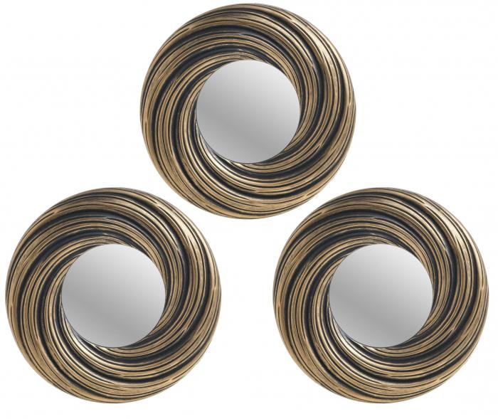 Set 3 oglinzi rama plastic culoare auriu antichizat  diametru 25cm 0