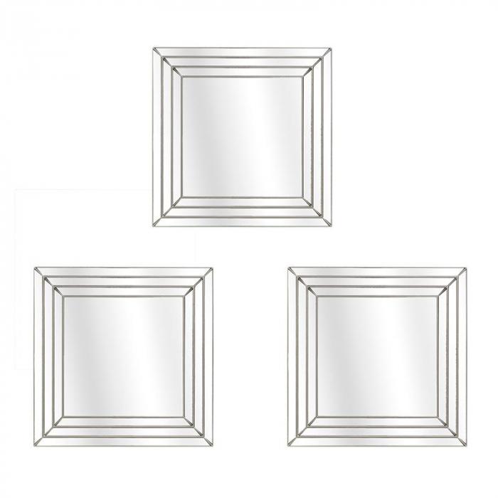 Set 3 oglinzi rama plastic culoare auriu antichizat dimensiune 25x25 cm 0