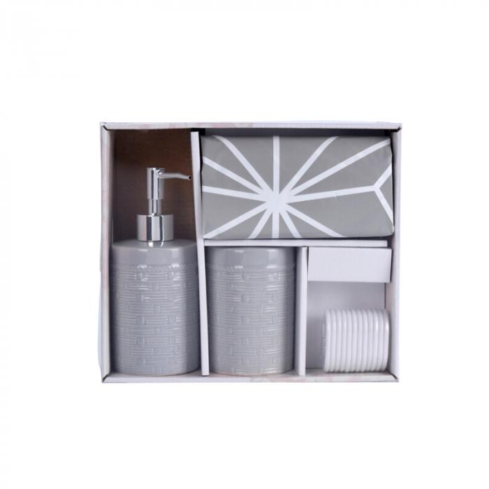 Set 3 piese pentru baie, recipient sapun, pahar periute dinti din ceramica, perdea de dus cu 12 carlige, Gri [0]