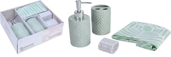 Set 3 piese pentru baie, recipient sapun, pahar periute dinti, ceramica, si perdea de dus cu 12 carlige, Verde [9]