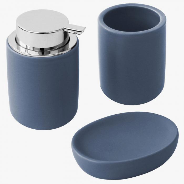 Set 3 piese pentru baie, din dolomita, albastru, 12x9cm [2]