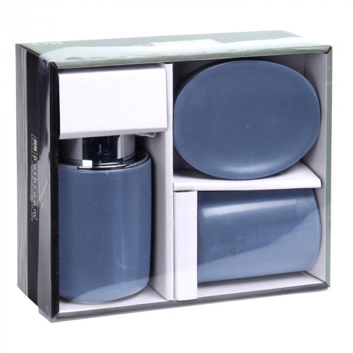 Set 3 piese pentru baie, din dolomita, albastru, 12x9cm [1]
