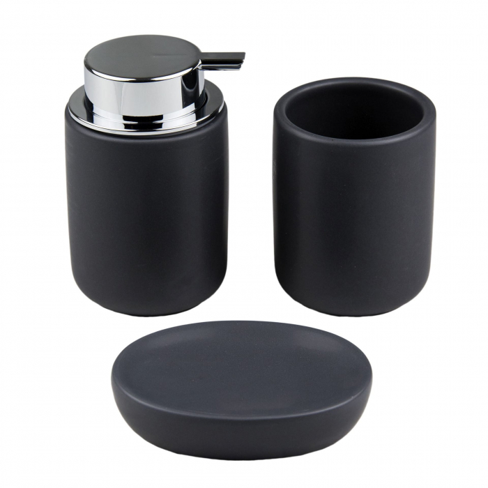 Set 3 piese pentru baie din dolomita negru 12x9cm [0]