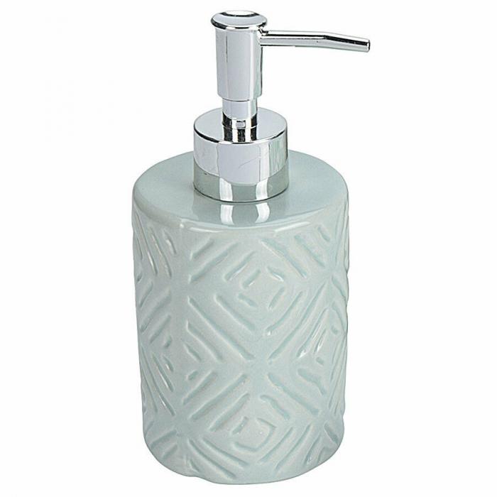 Set 3 piese pentru baie, recipient sapun, pahar periute dinti, ceramica, si perdea de dus cu 12 carlige, Verde [2]