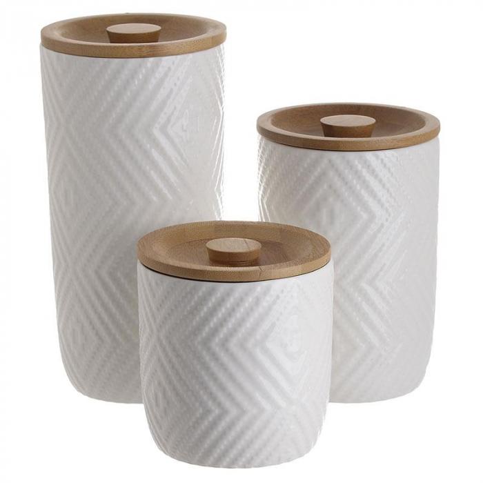 Set 3 recipiente depozitare din portelan cu capac bambus diametru 10 cm si inaltime 10 ,15, 20 cm 0