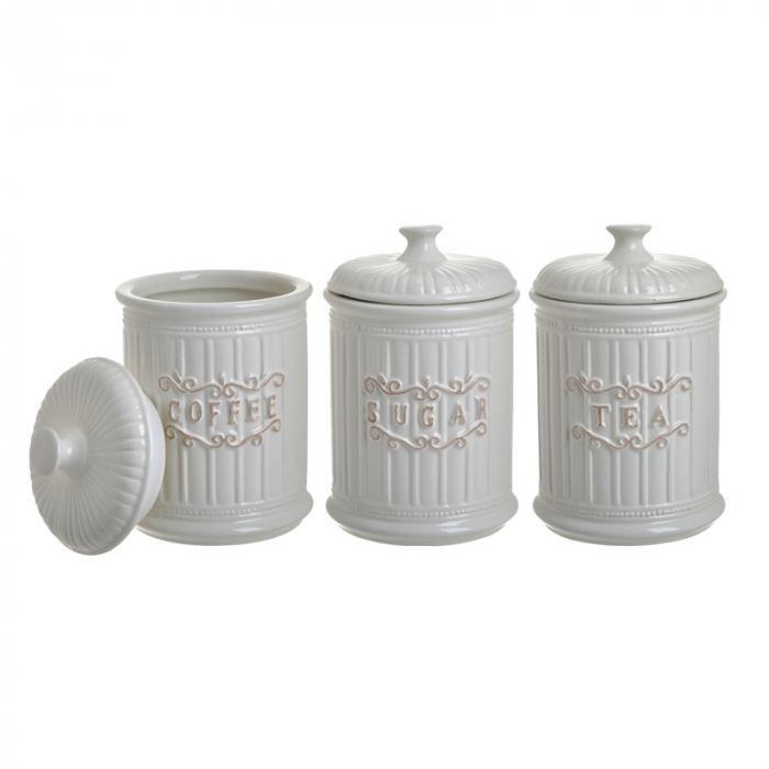 Set 3 recipiente pentru zahar, cafea, ceai, Portelan, culoare Alb, 11x17 cm [3]