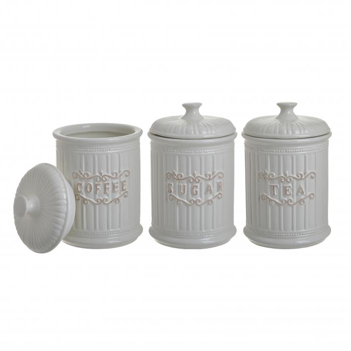 Set 3 recipiente pentru zahar, cafea, ceai, Portelan, culoare Alb, 11x17 cm [1]