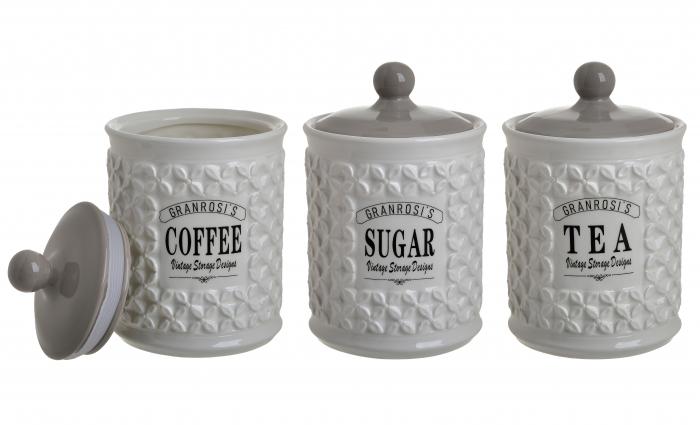 Set 3 recipiente portelan, pentru zahar, cafea, ceai, culoare alb fildes, diametru 12 cm inaltime 18 cm 0