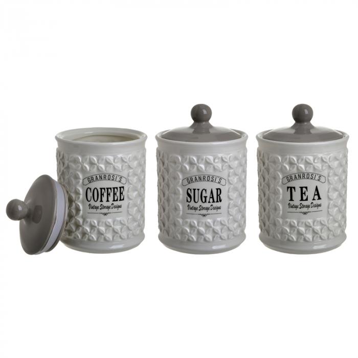Set 3 recipiente portelan, pentru zahar, cafea, ceai, culoare alb fildes, diametru 12 cm inaltime 18 cm 1