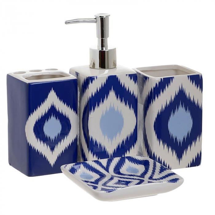 Set 4 piese pantru baie din ceramica culoare alb si albastru  22X22X7,5 cm 0
