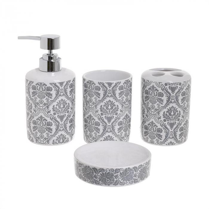Set 4 piese pantru baie din ceramica culoare alb si gri 0