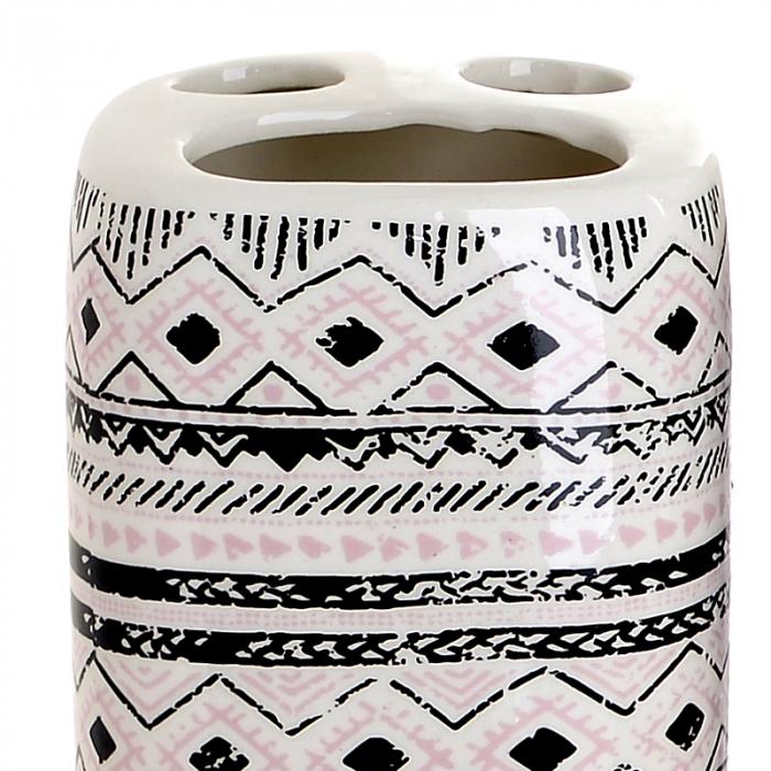 Set 4 piese pentru baie din ceramica cu model negru cu gri  25,5Χ21,5Χ8 cm 2