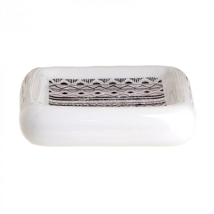 Set 4 piese pentru baie din ceramica cu model negru cu gri  25,5Χ21,5Χ8 cm 4
