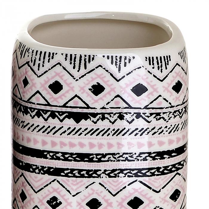 Set 4 piese pentru baie din ceramica cu model negru cu gri  25,5Χ21,5Χ8 cm 3
