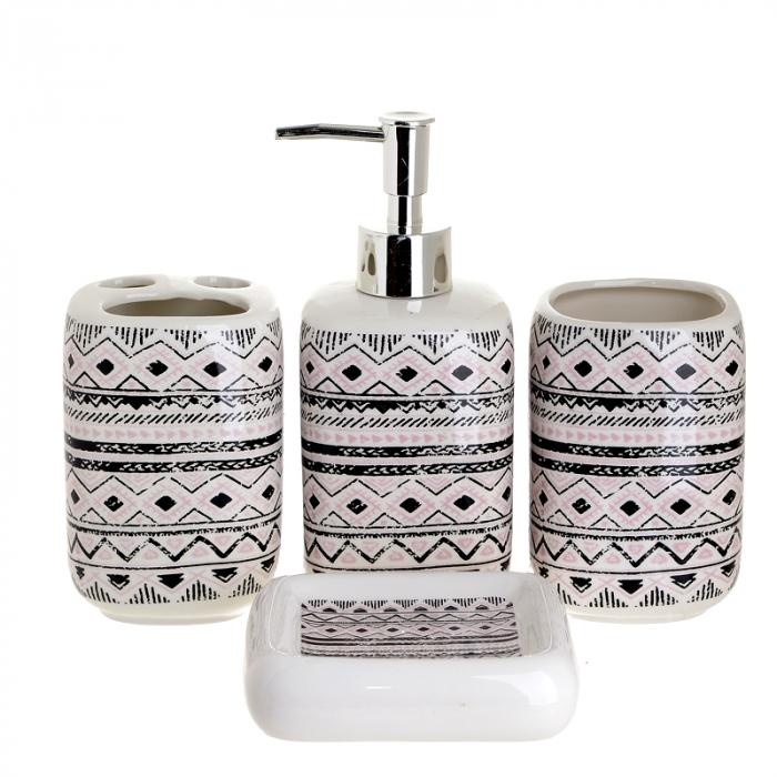 Set 4 piese pentru baie din ceramica cu model negru cu gri  25,5Χ21,5Χ8 cm 0