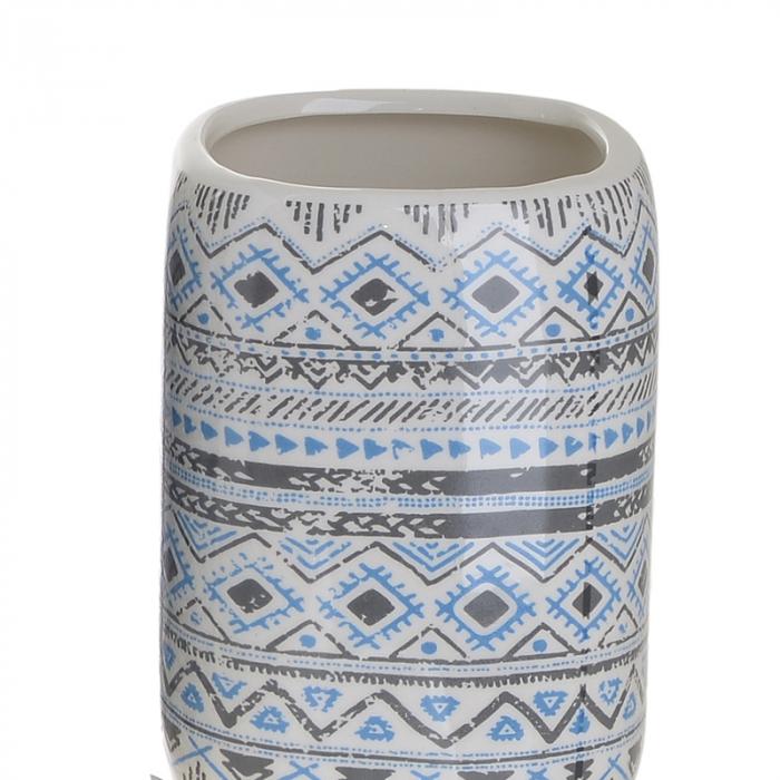 Set 4 piese pentru baie din ceramica cu model negru cu albastru  25,5Χ21,5Χ8 cm 3