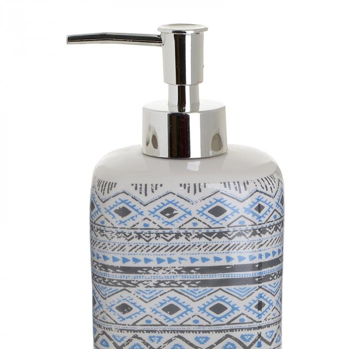 Set 4 piese pentru baie din ceramica cu model negru cu albastru  25,5Χ21,5Χ8 cm 1