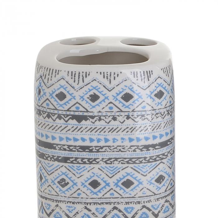 Set 4 piese pentru baie din ceramica cu model negru cu albastru  25,5Χ21,5Χ8 cm 2