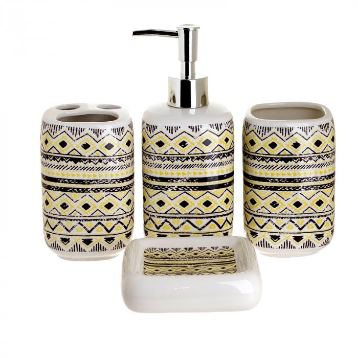 Set 4 piese pentru baie din ceramica cu model negru cu galben  25,5Χ21,5Χ8 cm 0