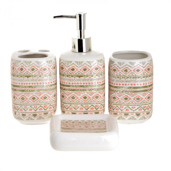 Set 4 piese pentru baie din ceramica cu model maro cu roz 25,5Χ21,5Χ8 cm [0]