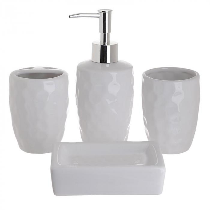 Set 4 piese, pentru baie, din ceramica, culoara alba, 21Χ25Χ8 cm [0]