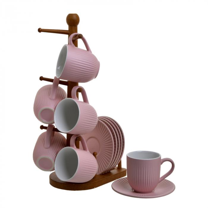Set 6 cani cu farfurii, din Portelan, pe suport de lemn, pentru cafea, Roz, 90 ml 2