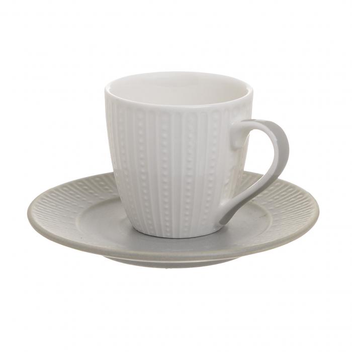 Set 6 cesti albe de cafea, cu farfurii gri, portelan, 120 ml [3]