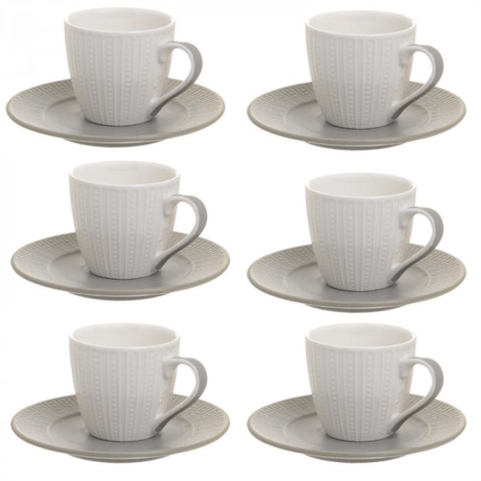 Set 6 cesti albe de cafea, cu farfurii gri, portelan, 120 ml [0]