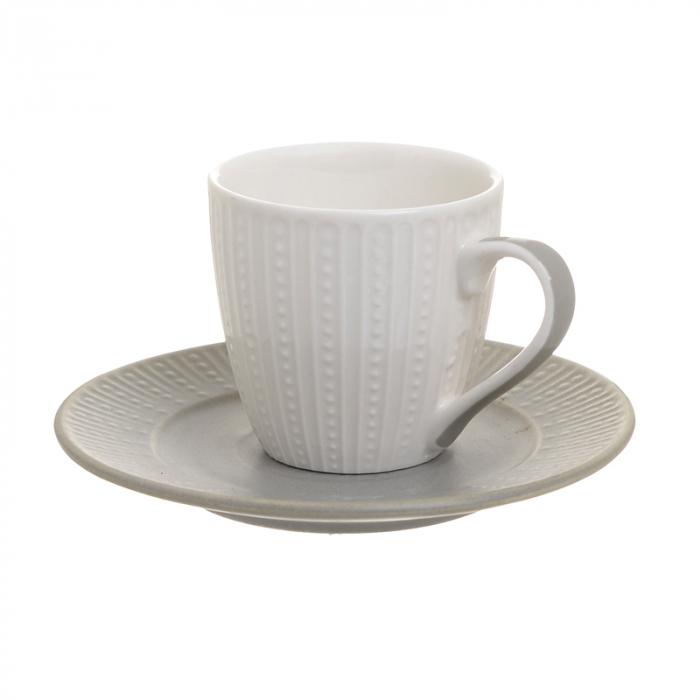 Set 6 cesti albe de cafea, cu farfurii gri, portelan, 120 ml [2]