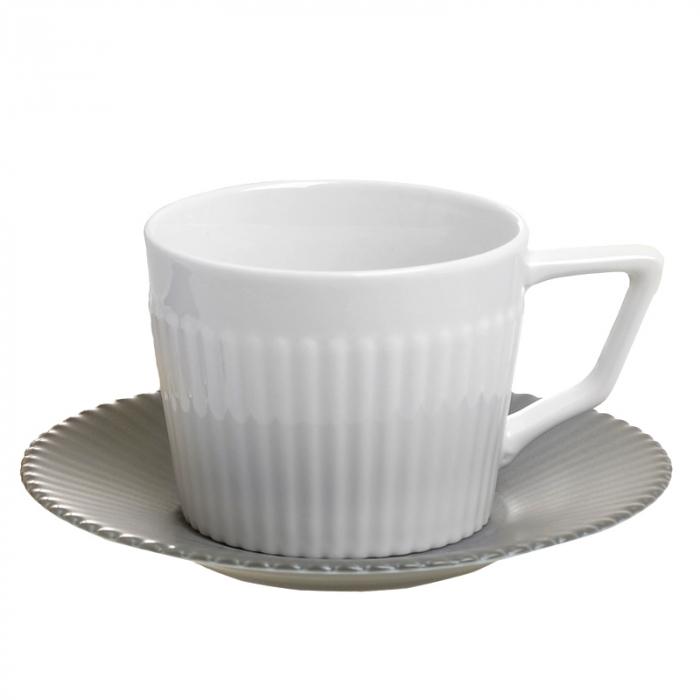 Set 6 cesti albe de ceai, cu farfurii gri, din portelan, cu suport, 200 ml 1