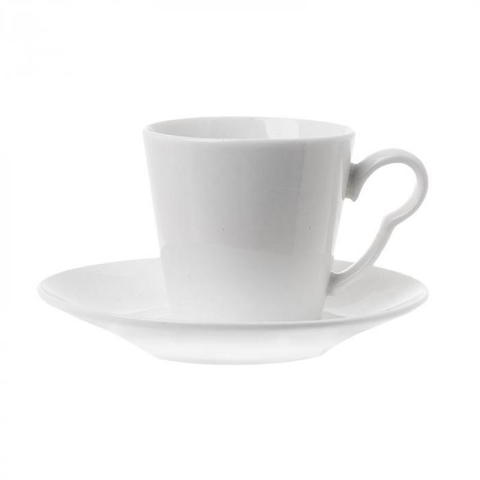 Set 6 cesti cafea cu farfurie din portelan 100cl 0