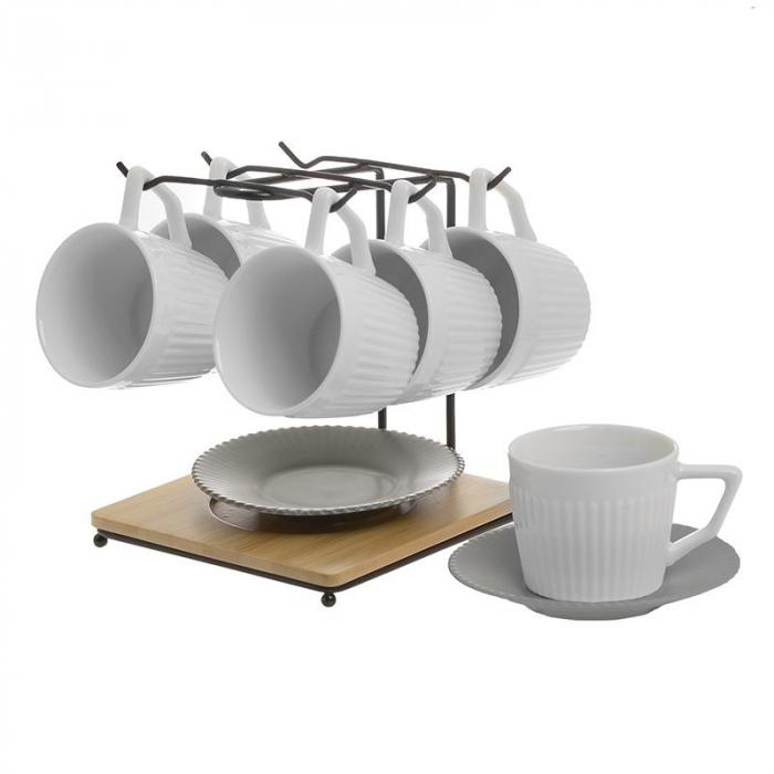 Set 6 cesti cafea din portelan capacitate 100 cl farfurii gri pe suport metal 0