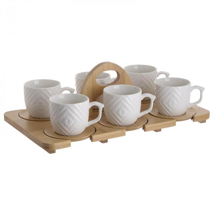 Set 6 cesti cafea din portelan capacitate 150cl pe tavita bambus 35X20X12 cm 0
