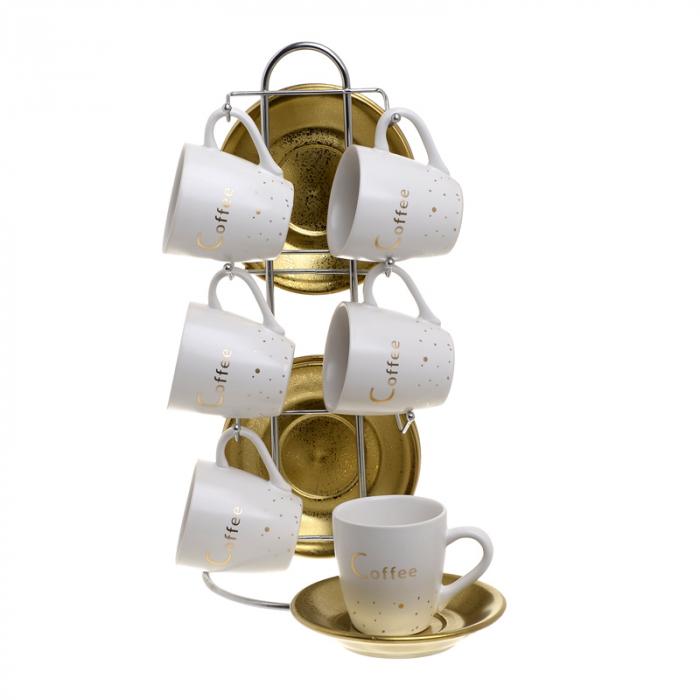 Set 6 cesti cafea portelan alb/auriu cu 6 farfurii aurii pe stand inox 15x9x29 2