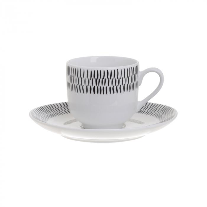 Set 6 cesti de Cafea cu farfurii, din portelan, culoare alb cu model negru, 90 ml [2]
